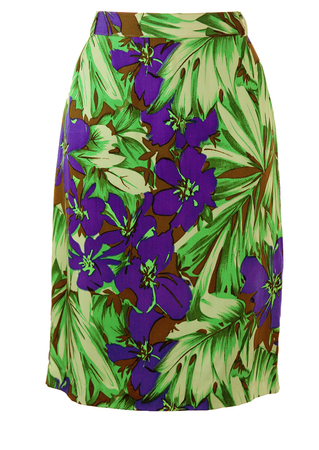 Knee Length Pencil Skirt with Green & Purple Tropical Floral Print - M