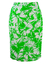 Green & White Floral Print Knee Length Pencil Skirt - S/M