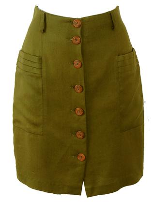 High Waist Olive Green Button Front Mini Pencil Skirt - S/M
