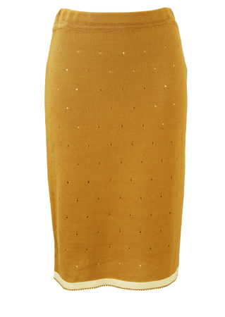 Fine knit knee length camel pencil skirt with white trim - S/M