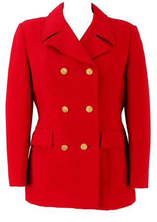 Vintage 1960's Red Double Breasted Jacket with Gold Buttons - M
