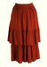 Russet Coloured 3/4 Length Tiered Skirt with Leaf Pattern - S