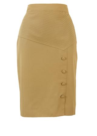 Knee Length Fawn Coloured Pencil Skirt with Asymmetric Waistband - S