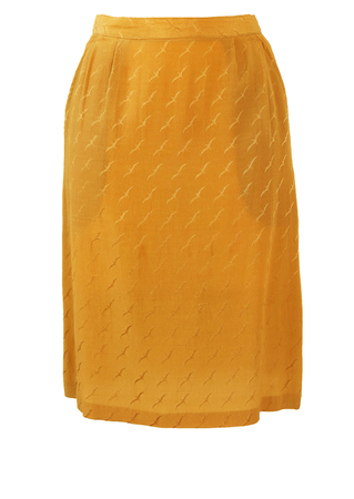 Knee Length Gold Skirt with Bird Motif - S