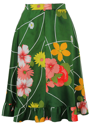 Green Flared Knee Length Skirt with Floral Pattern - S