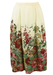 Cream Midi Length Flared Skirt with Floral Pattern - M