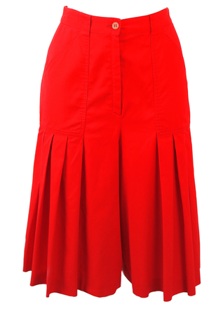 Red Pleat Detail Knee Length Culottes - S