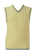 Cream Cable Knit Detail Sleeveless Jumper / Tank Top with Blue Trim - S/M