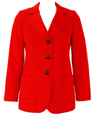 Vintage 1960's Red Jacket with Blue Stitch Detail - S