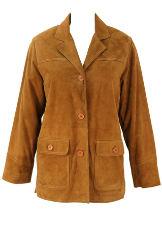 Camel Coloured Suede Jacket with White Stitch Detail - M