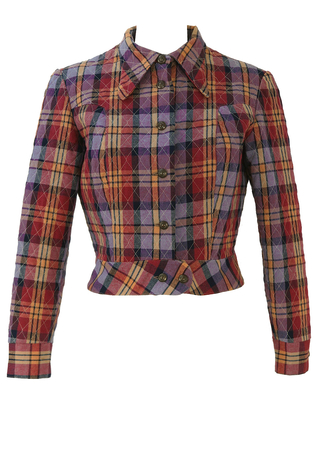 Vintage 1970's Cropped Jacket with Purple Check Pattern - S/M