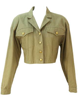 Vintage 1990's Cropped Khaki Denim Jacket - M