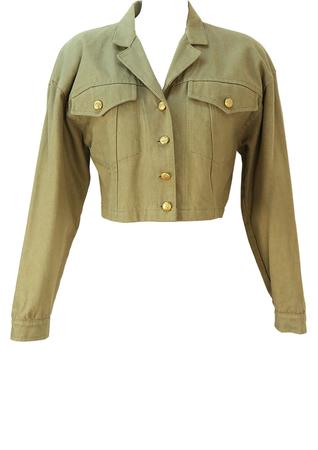Vintage 1990's Cropped Khaki Denim Jacket - M