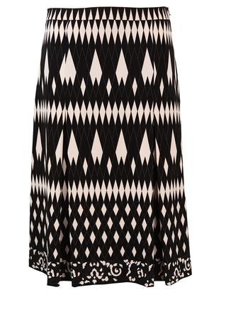 Black & White Diamond Pattern A Line Midi Skirt - M