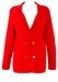 Red Double Breasted Jersey Knit Cardigan - M