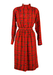 80's Tartan Style High Neck Belted Dress - L