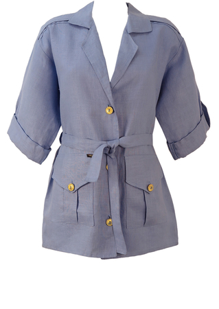 Light Blue, Linen Safari Jacket with Gold Buttons - L