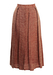 3/4 Length Dusty Pink Pleat Skirt with Russet Abstract Pattern - S