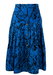 Vintage 1980's Blue Midi Skirt with Black Abstract Leopard Pattern - S