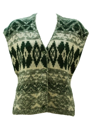 Chunky Knit Patterned Waistcoat in Cream and Green - M/L