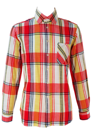 Red, White, Yellow and Blue Check Patterned Shirt - M