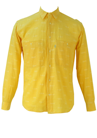 Yellow Long Sleeve Shirt with White Striped Stitching - S/M