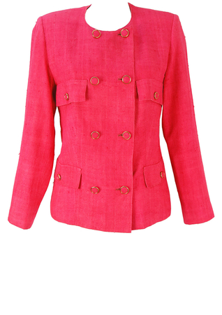 Pink Double Breasted Jacket with Multi Pockets & Buttons - M