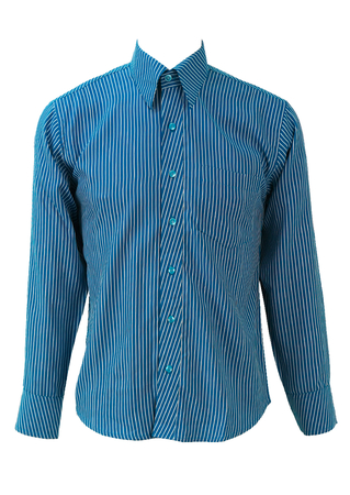 Blue and White Striped Long Sleeve Shirt - M
