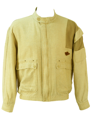 Cream Bomber/Racer Jacket in Cotton & Linen - M/L