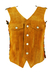Tan Coloured Suede Waistcoat with Patchwork Back - S/M