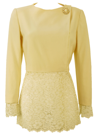 Cream Jacket with Lace Detailing & Decorative Button - M