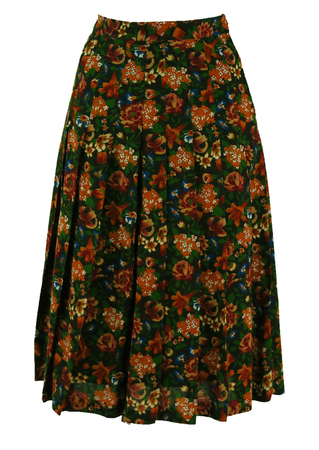 Autumnal Floral Pleated A-Line Skirt - S