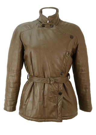 Brown Leather Belted Jacket with Stitch Pattern Detail - M
