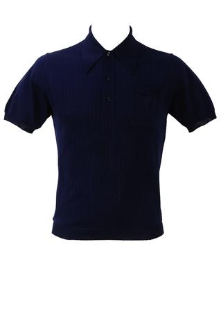 Vintage 1960's Italian Fine Knit Navy Blue Polo Shirt - S