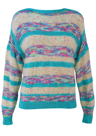 Blue, Pink & Yellow Striped, Multi Textured Vintage 1980's Jumper - M