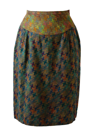 Multi Colour Tetric Patterned Skirt with Metallic Highlights - S