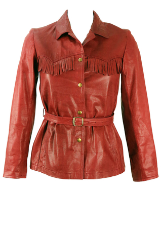 Burgundy Belted Leather Jacket with Tassel Detail - S