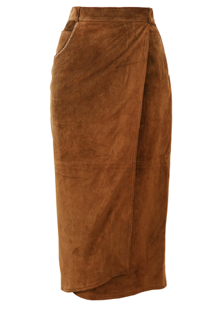 Brown Midi Length Suede Skirt with Asymmetric Wrap Front - S