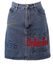 Denim Mini Skirt with Embroidered 'Unlimited' Motifs  - S
