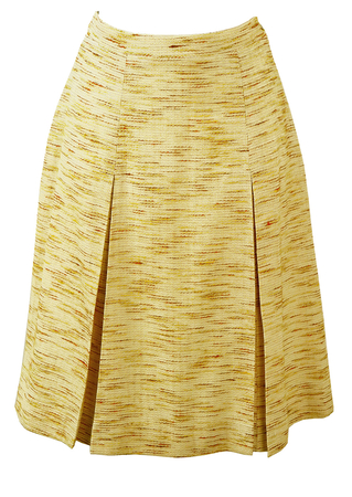 Cream & Yellow Pleat Detail Knee Length Skirt - S/M