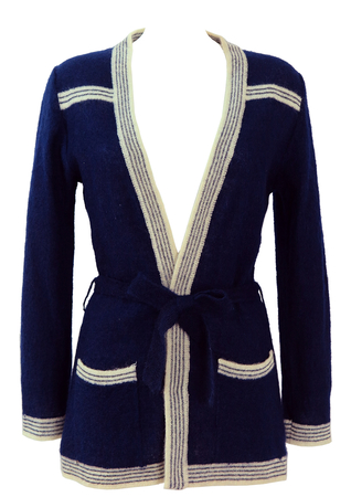 Navy Blue Tie Front Cardigan with Striped Cream Trim - S/M