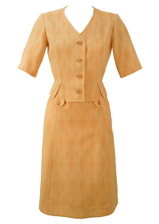 Vintage 1960's Peach & Cream 3 Piece Dress Suit - S/M