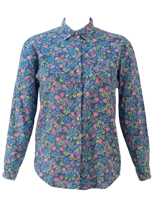 Blue Blouse with Pink, Blue & Green Floral Pattern - S/M
