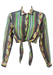 Cropped Tie Front Blouse with Mint Green & Grey Striped Pattern - S/M