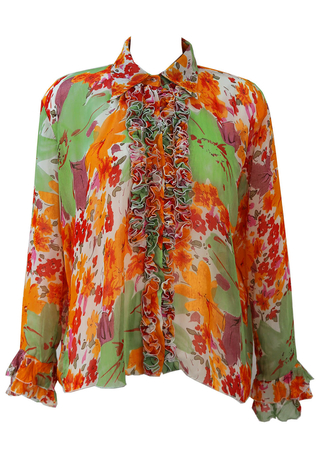 Semi Sheer Green & Orange Floral Blouse with Ruffle Detail - L/XL