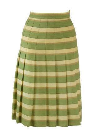Wool Pleat Skirt with Green, Cream & Beige Stripe Detail - S