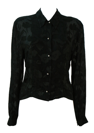 Black Semi Sheer Blouse with Textured Floral Pattern - M/L