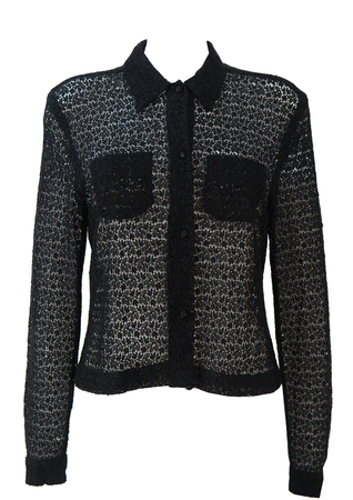 Black Lace Blouse with Leaf Shape Patterns - S/M