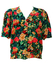 Short Sleeve Blouse with Red, Yellow, Green & Blue Floral Pattern - L