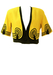 Yellow & Black Cropped Linen Jacket with Tassles - M